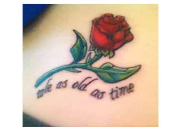 Tale as Old as Time Beauty and the Beast Red Rose Tattoo