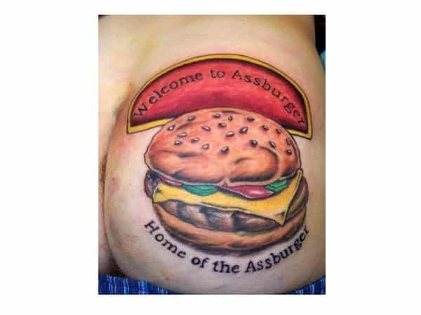 Funny Hamburger Tattoo with Sign