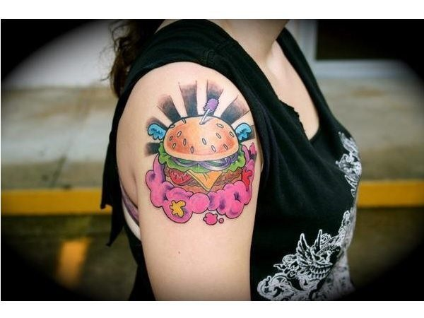 Hamburger Arm Tattoo with Rays and Purple Cloud
