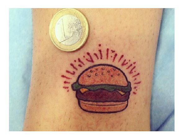 Tiny Burger Tattoo with Red Rays