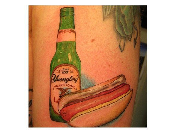 Hot Dog and Beer Tattoo