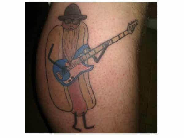 Hot Dog Dressed Up with Blue Guitar