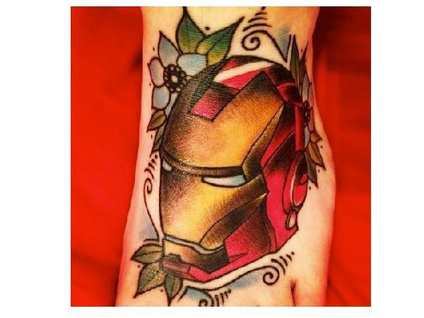 Iron Man Head Tattoo with Blue Flowers