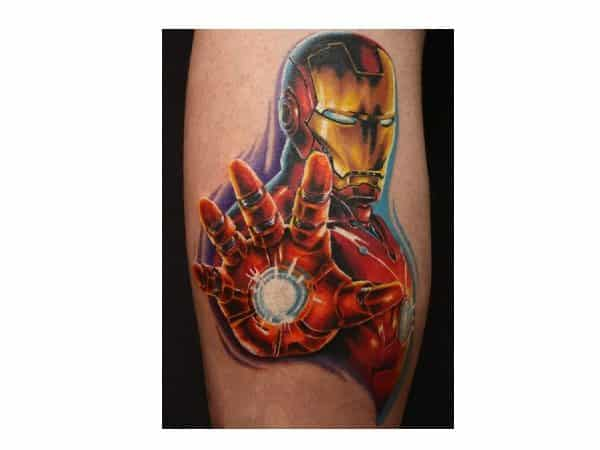 Iron Man with Open Hand Colored Tattoo