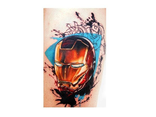 Iron Man Head Tattoo with Blue Background