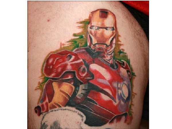 Iron Man with Green Background Tattoo