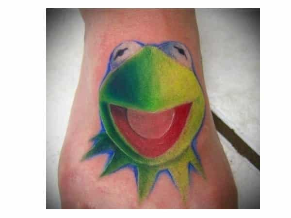 Kermit the Frog Colored Foot Tattoo