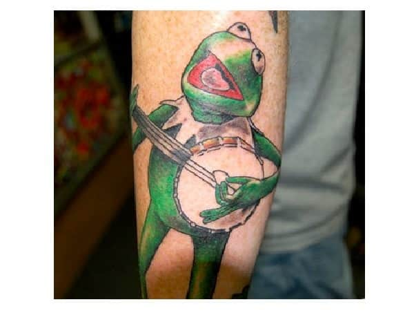 Colored Kermit the Frog with Banjo Tattoo