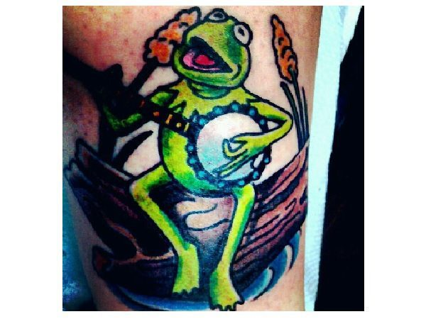 Kermit the Frog Banjo Tattoo Outdoors
