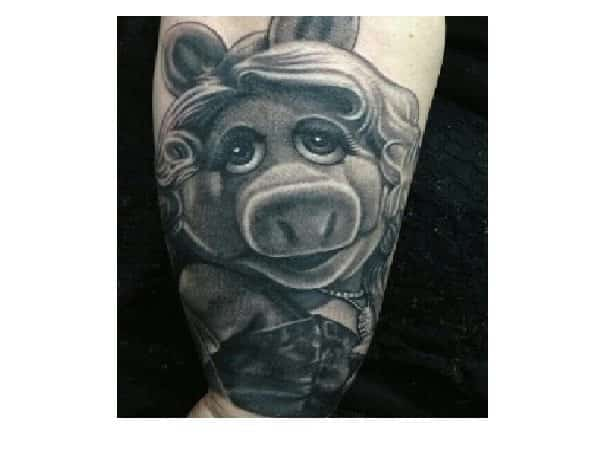 Black and White Miss Piggy Tattoo