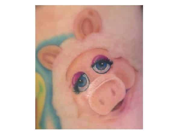 Miss Piggy with Pink Hair Tattoo