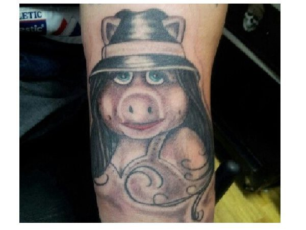 Miss Piggy Dark Hair and Hat Tattoo