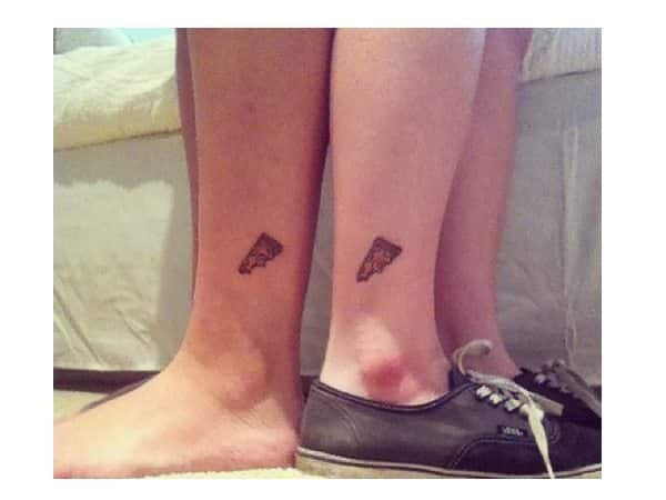 Tiny Pizza Slice Ankle Tattoo
