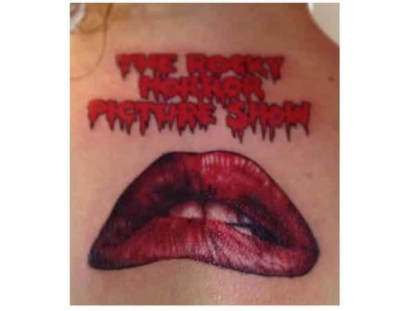 Lips From Rocky Horror Colored 3-D Tattoo