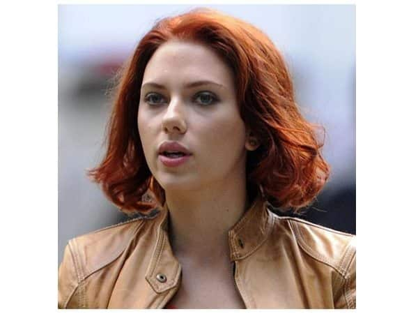 Scarlett Johansson Shoulder Length Curly Red Hair
