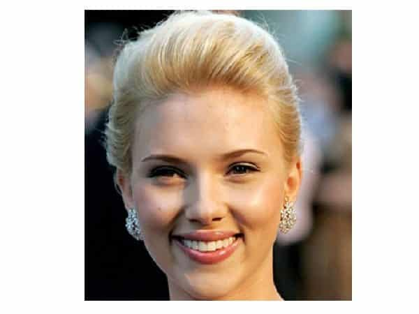 Scarlett Johansson Platinum Blond Slicked Back Bun Hairstyle