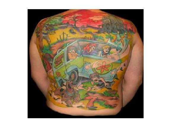 Mystery Machine and Scooby Doo Gang Back Tattoo