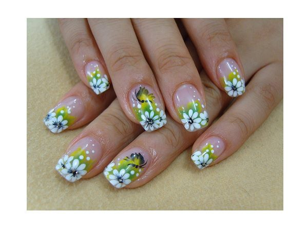 Plain Nails with Green Tips and White Flower Designs