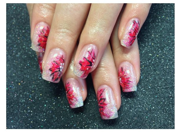 Plain Nails with Red Flowers and Glitter