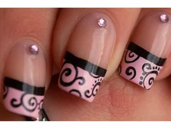 Plain Nails with Pink and Black Tips and Stones