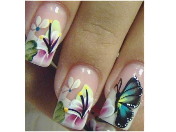 Plain Nails with Flowers and Butterflies