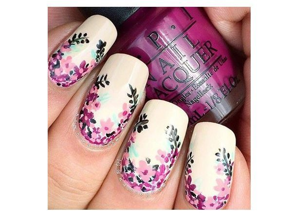 Light Pink Nails with Purple Flowers