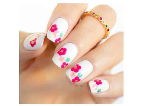 White Nails with Pink and Purple Flowers