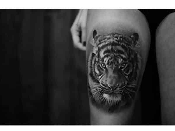 Tiger Head Thigh Tattoo