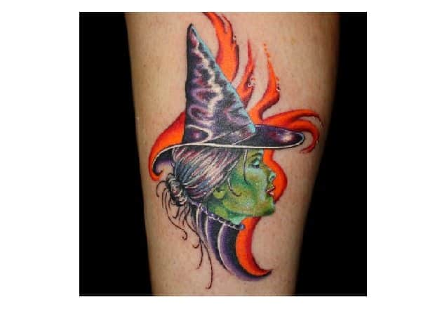 Green Faced Witch with Orange Flames Wicked Tattoo