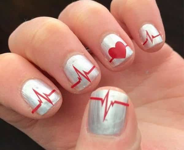 11 Funky and Sweet Heartbeat Nail Design Ideas