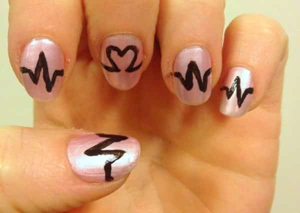 heartbeat nail design