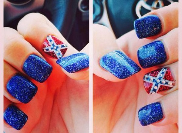 rebel flag nails - 12 Southern Pride Rebel Flag Nails