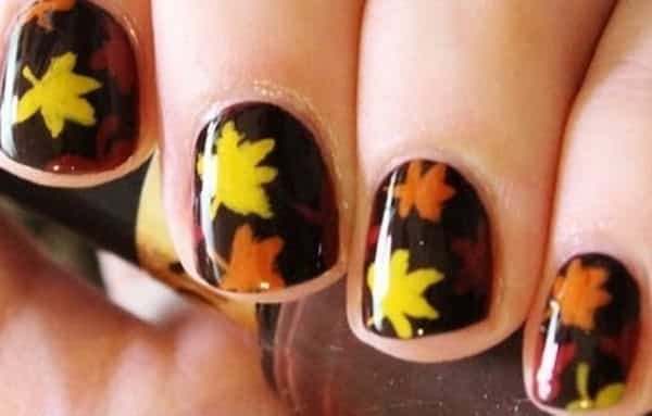 fall leaves nail art