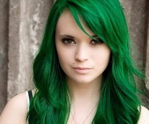 green hair color ideas    work