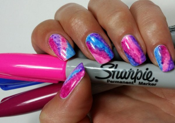 sharpie nail art - 20 Fantastic And Simple Sharpie Nail Art Designs