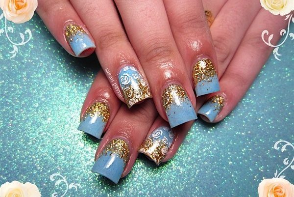 17 Beautiful Blue and Gold Nail Art Designs