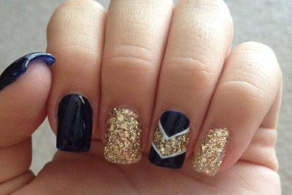 Beautiful Blue and Gold Nail Art Designs