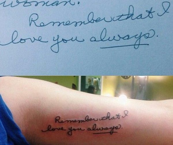 handwriting tattoo