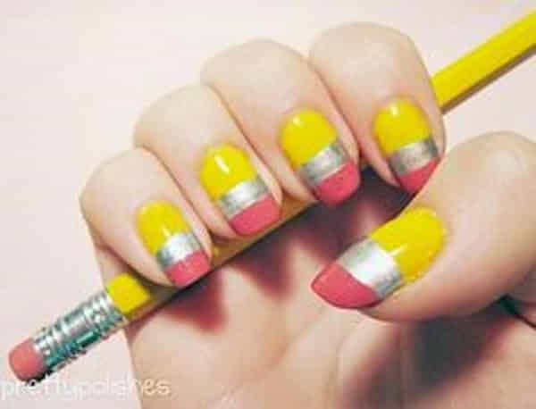 pencil nail art - 10 Perfect Pencil Nail Art Designs For Back To School
