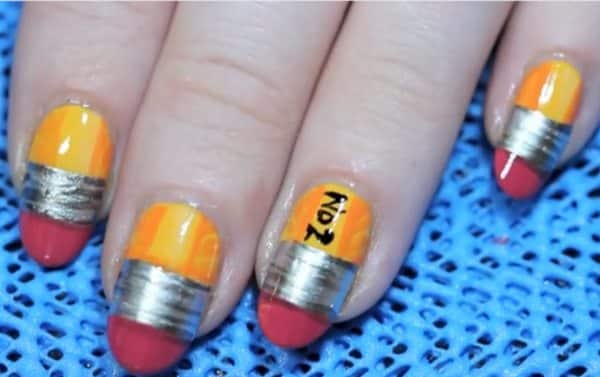 10 Perfect Pencil Nail Art Designs For Back To School