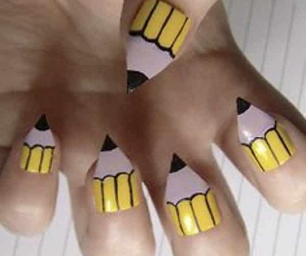 10 perfect pencil nail art designs for back to school pencil nail art prinsesfo Gallery