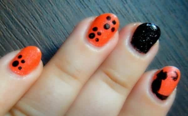 black and orange nail art ideas - 15 Halloween Black And Orange Nail Art Ideas