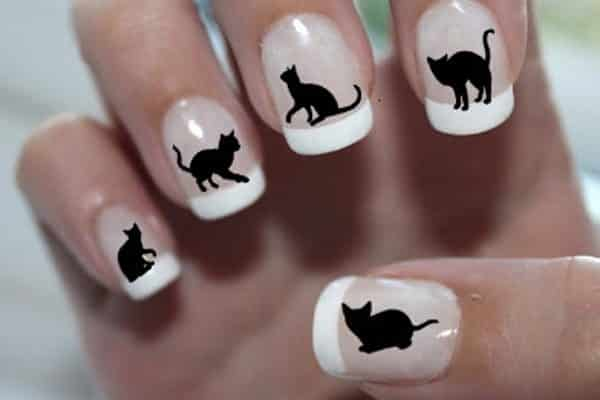 cat nail art - 25 Cute Cat Nail Art Designs