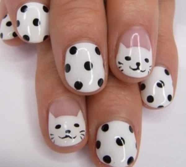 cat nail art - 25 Cute Cat Nail Art Designs