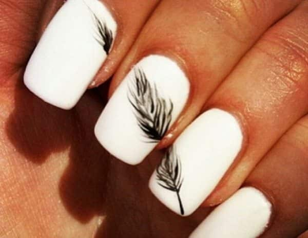 11 fancy feather nail art designs feather nail art prinsesfo Image collections