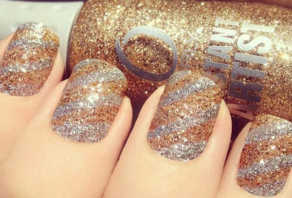 silver and gold nails
