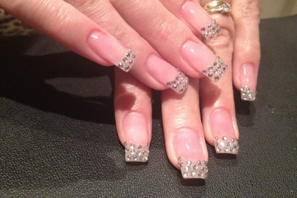 Simple Rhinestone Nail Art