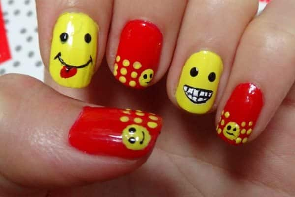 smiley face nails