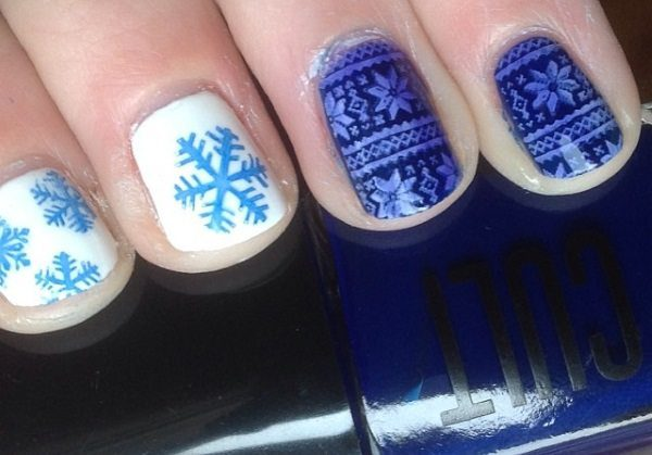 blue winter nails