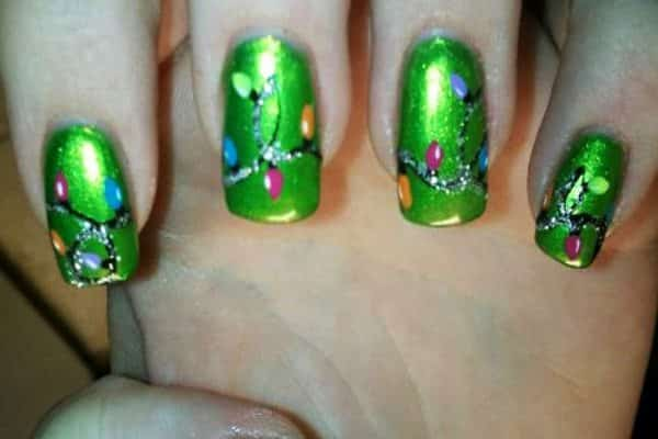 christmas light nail art